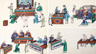 A Set of Four Chinese Export Watercolors
