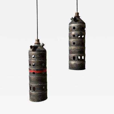 A Set of Four Hanging lamps Handmade from a Turbine