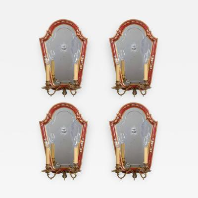A Set of Four Italian Chinoserie Decorated Two Light Wall Appliques