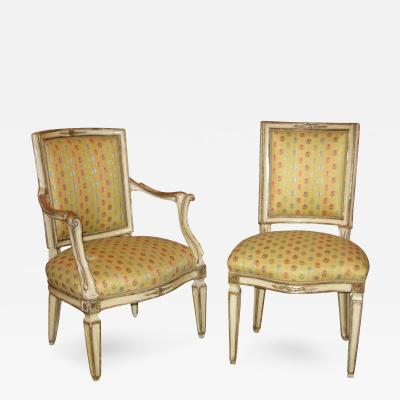 A Set of Four Neoclassic Neapolitan Painted and Mecca Gilded Chairs