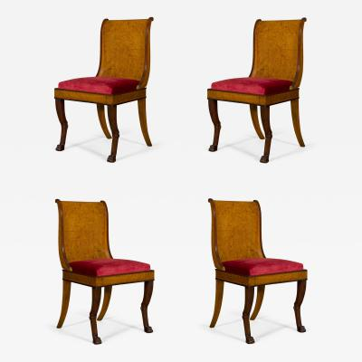 A Set of Four Salon Chairs of Unusual Form and Contrasting Woods