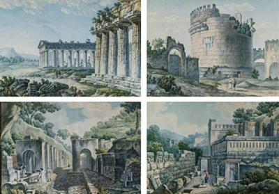 A Set of Four Watercolors of Ancient Ruins Circle of Ducros 1800 1810