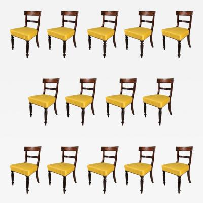 A Set of Fourteen William IV Mahogany Dining Chairs