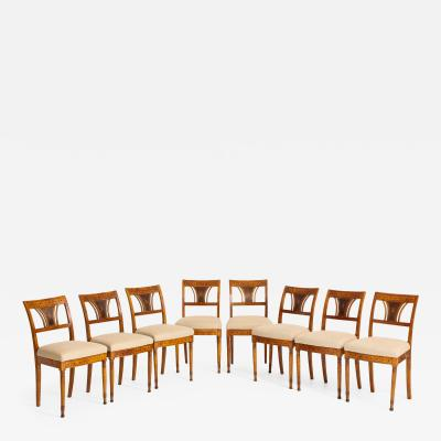 A Set of Six Danish Empire Inlaid Birchwood Sidechairs Circa 1810 1820