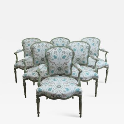 A Set of Six George III Painted Armchairs
