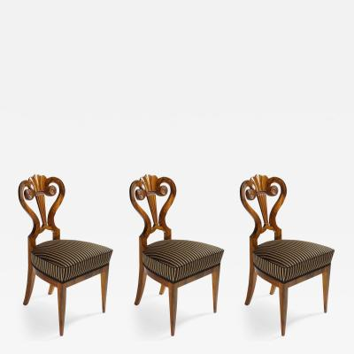 A Set of Three Exceptional Biedermeier Side Chairs