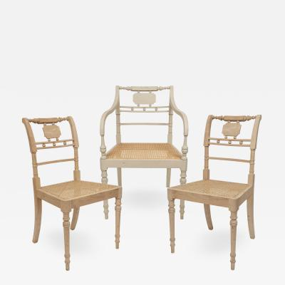 A Set of Three Georgian Style Contemporary Wood Chairs