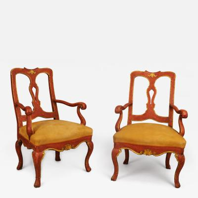 A Set of Three Red Lacquered Slat Back Chairs from the Veneto
