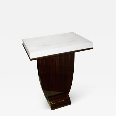 A Shagreen Top Table on A Macassar Ebony Base In The Dominique Style