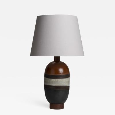 A Single Italian Glazed Ceramic Table Lamp 1970s