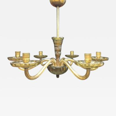 A Six Light Bohemian Crystal Glass Chandelier
