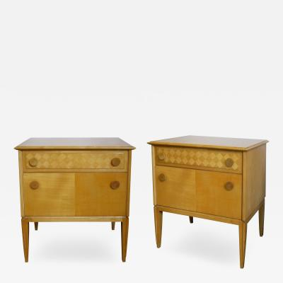 A Sleek Pair of French Sycamore 2 Drawer Bedside Cabinets