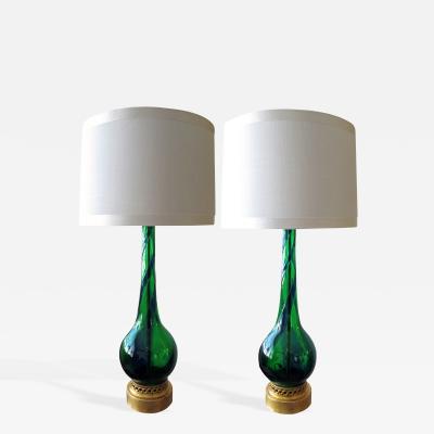 A Sleek Pair of Murano Emerald Green and Cobalt Blue Swirl Lamp