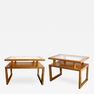 A Smart Pair of American Maple Wood Side Tables with Glass Inset Tops