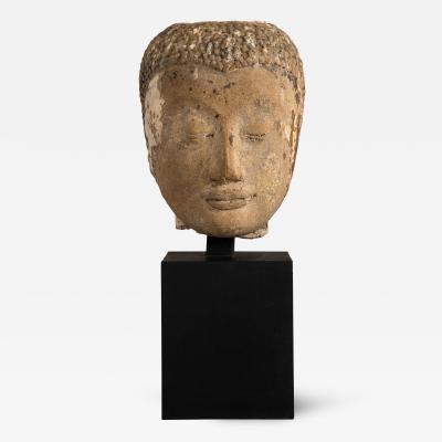 A Southeast Asian Stone Bust of Buddha