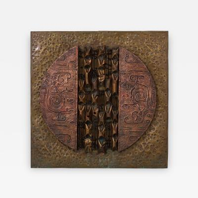 A Square Brutalist Mixed Metal Wall Panel Sculpture 1970s