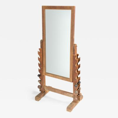 A Stand Alone Gym Mirror in Wood