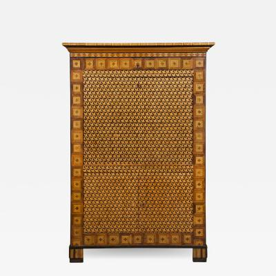 A Striking Illusionistic And Geometric Parquetry Secretaire A Abattant