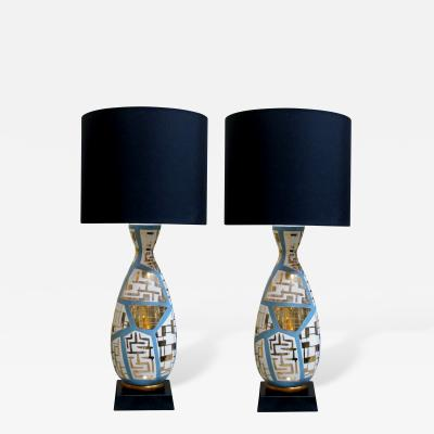 A Striking Pair of Italian Lamps with Gilt Geometric Decoration