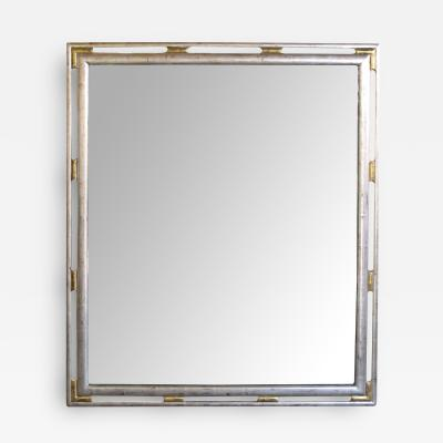 A Stylish American Silver and Gold Leafed Rectangular Wooden Mirror