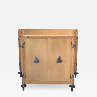 A Stylish French 1940s Sycamore 2 Door Cabinet with Pewter Mounts