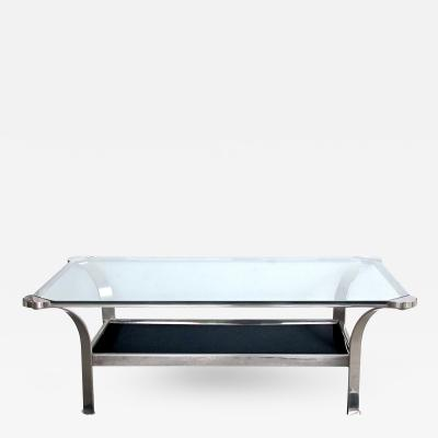 A Stylish French 1970s Steel Rectangular Form Coffee Table
