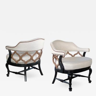 A Stylish Pair of American Hollywood Regency Lacquered Barrel Back Chairs