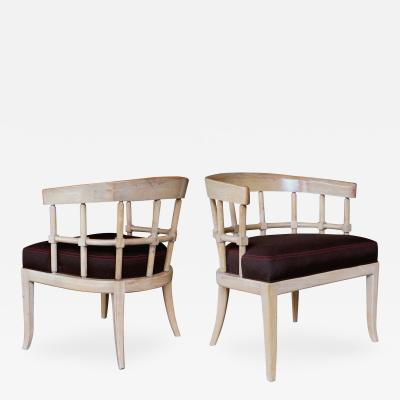 A Stylish Pair of American Pickled Oak Barrel Back Chairs