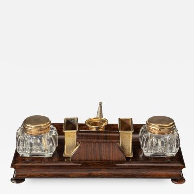 A Stylish William Iv Rosewood And Silver Gilt Portable Desk Compendium
