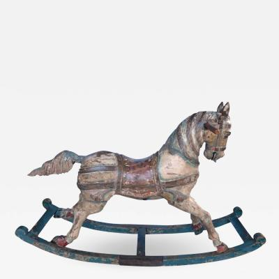 A Superb Quality French 19th Century Painted Bow Rocking Horse