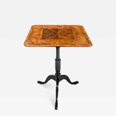 A Swedish Burlwood and Walnut Tilt Top Table