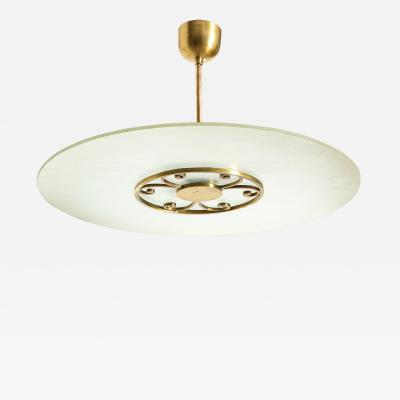 A Swedish Grace Frosted Glass and Brass Pendant Circa 1930s