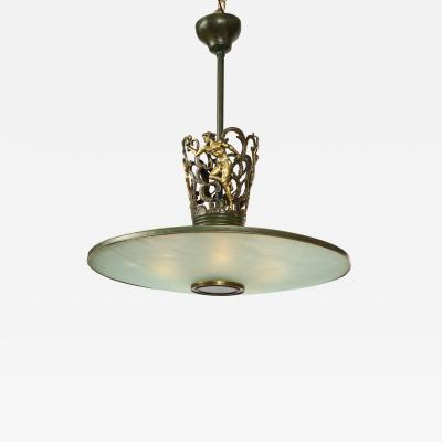 A Swedish Grace Patinated Bronze and Frosted Glass Chandelier Circa 1920s