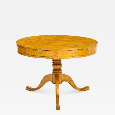 A Swedish Karl Johan Birch Root Drum Table Circa 1830s