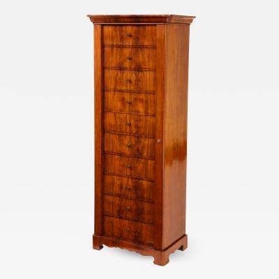 A Swedish Karl Johan Mahogany Wellington Chest of Drawers Circa 1840s