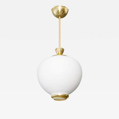 A Swedish mid century pendant with white satin glass shade and polished brass