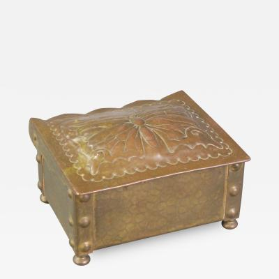 A Swiss Art Nouveau Brass Box Stamped S Canevascin Locarno