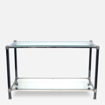 A Tailored French 2 Toned Steel Console with Beveled Glass Top Lower Shelf