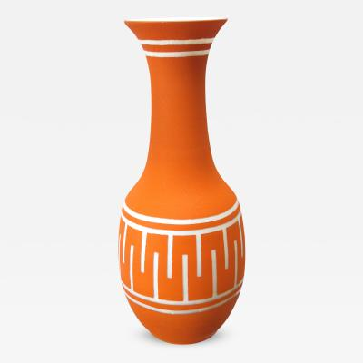 A Tall American 1960s Orange Glazed Vase with White Ground