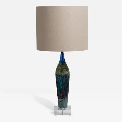 A Textured Turquoise Blue and Green Glass Table Lamp 1970s