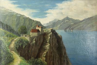A Toscani Oil On Canvas River Scene In Northern Italy Signed A Toscani 1928