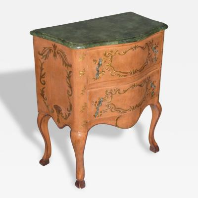 A Two Drawer Painted Chest with Faux Marble Top