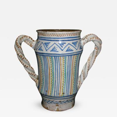 A Two Handled Albarello with Polychrome Geometric Motif