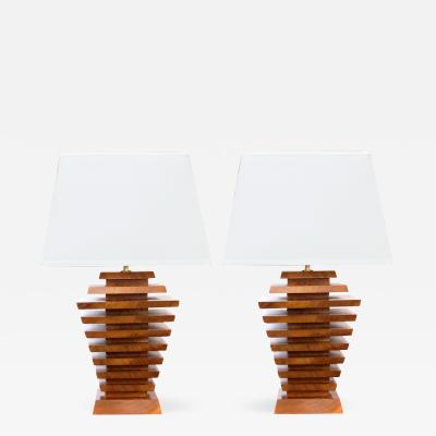 A Unique Pair of American 1960s Stacked Maple Lamps