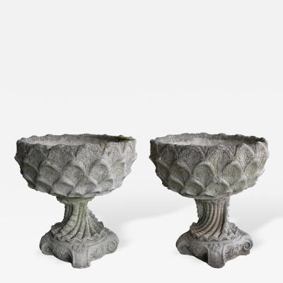 A Unique Pair of Italian Cast Stone Garden Urns in the Grotto Taste