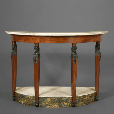 A Very Fine And Unusual Demilune Pier Table In The Retour D egypt Taste