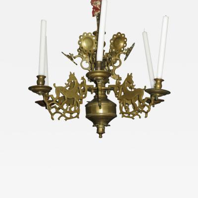 A Very Fine Six Arm Bronze Chandelier in Original Condition