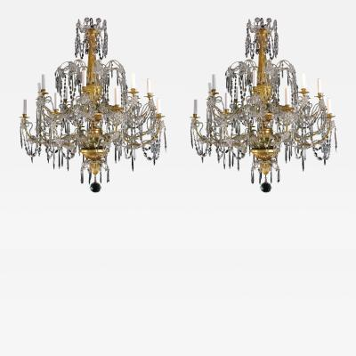 A Very Rare Pair of Chandeliers with 16 Lights