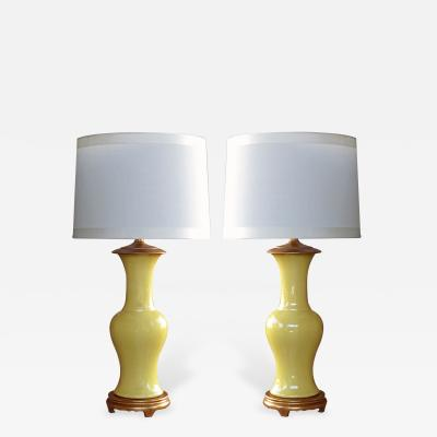 A Vibrant Pair of Chinese Canary Yellow Crackle Glaze Porcelain Lamps