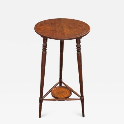 A Victorian Oak Campaign Lamp Table